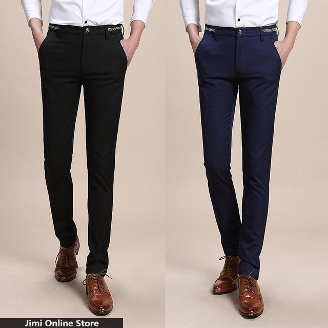 Pantalones de algodón para hombre casual hombres visten pantalones sólidos pantalones de traje hombres de Negocios de los hombres pantalones delgados de ocio patalones hombres tamaño 28-36