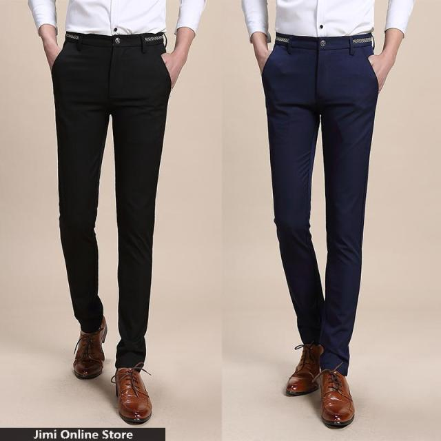 mens cotton pants casual men dress pants solid suit pants men Business men's slim leisure trousers patalones hombres size 28- 36