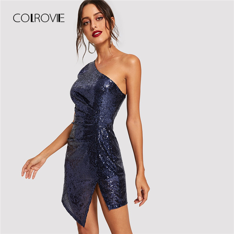 COLROVIE <font><b>Blue</b></font> Solid One Shoulder <font><b>Sexy</b></font> Winter Sequin <font><b>Dress</b></font> Women 2018 Autumn <font><b>Bodycon</b></font> Night Club Party <font><b>Dress</b></font> Evening Short <font><b>Dresses</b></font> image