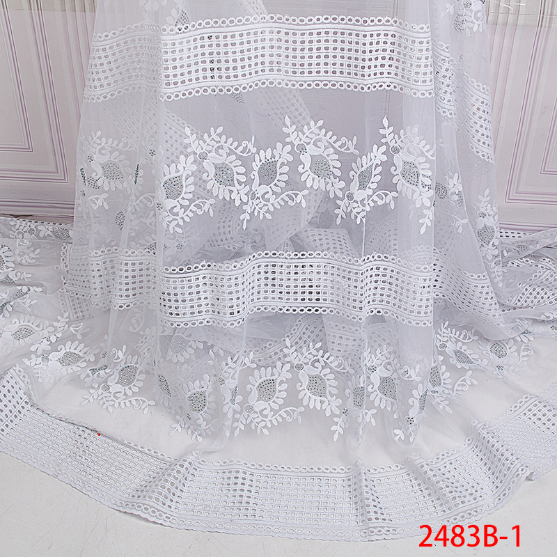Pure White African Lace Fabric 2019 High Quality Lace French Embroidered Net Lace Fabric with Stones For Women KS2483B-1