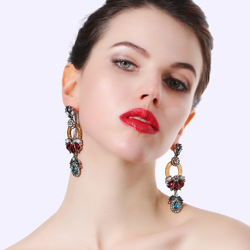 2018 New Long Geometric Layer Ethnic Luxury Tibetan Jewelry Earrings For Women Red Resin Bridal Drop Earring