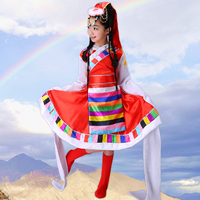 The New Tibetan Dance Tibetan Clothing Costumes Ethnic Water Sleeves Dance Clothing Girls Traditional Tibetan Dance Costumes