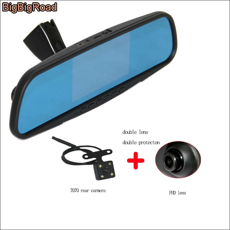 BigBigRoad Car DVR Dash Cam night vision Blue Screen Dual Lens video registrator For honda S1