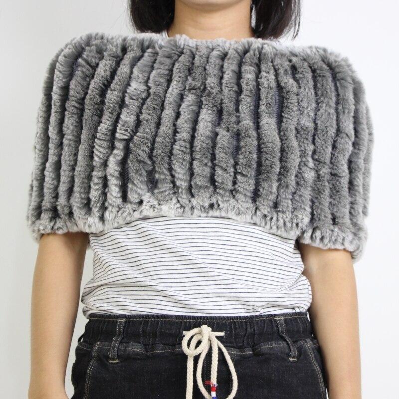 2018 D'hiver de femmes réel de fourrure de lapin châle écharpe Élastique fourrure foulards châles wrap anneau double fonction tippet poncho