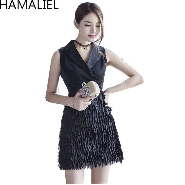 b52e6af5567 Haut de gamme style coréen marque vêtements nouveau 2018 femmes sans  manches noir Patchwork col cranté