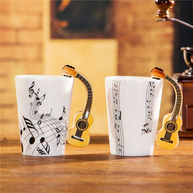 Sada 2ks akustických kytarových hrnků s keramickou kávou Hrnky - Kuchyně, jídelna a bar