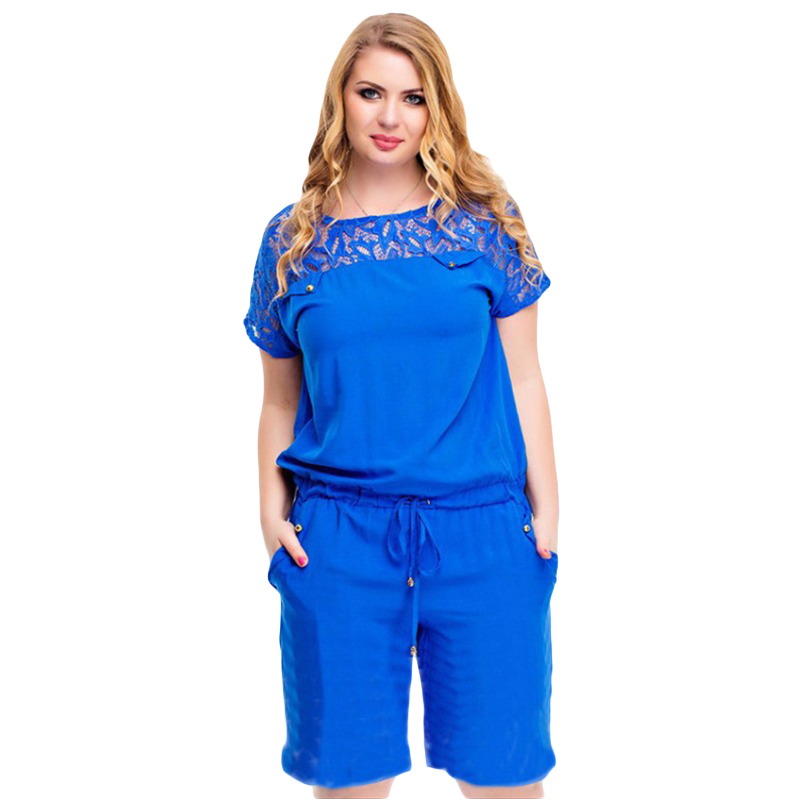 Europe and America women playsuits 2018 hot sell the new summer O neck lace large size ladies lace pocket casual   jumpsuits   9105