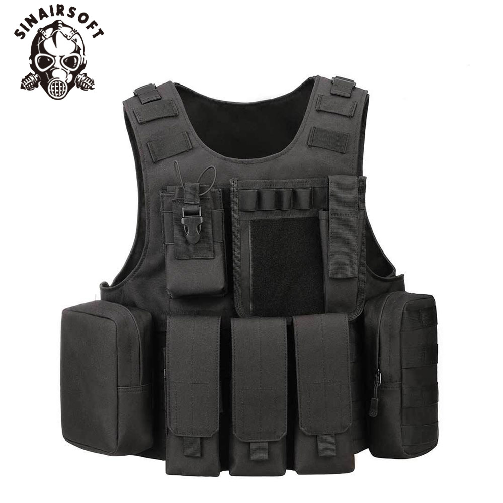 SINAIRSOFT Professional Amphibious Airsoft Tactical Military Molle Combat Assault Plate Carrier Vest Tactical vest 5 Color