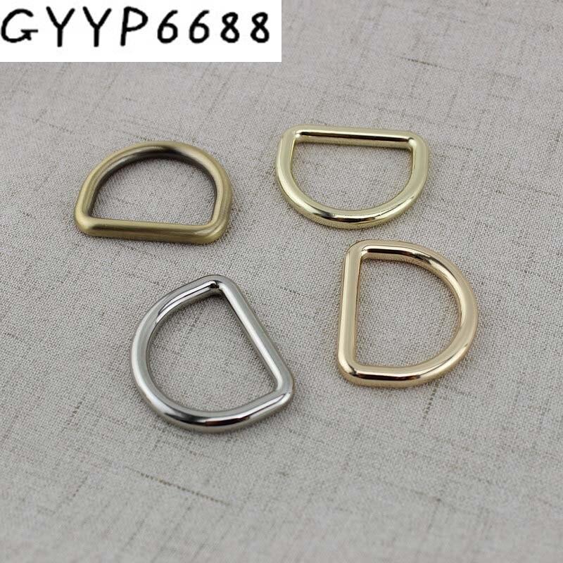 50PCS 5.0mm 32mm 19mm Inch Inside Brushed Antique Brass Cast Solid D Ring Hardware Metal D-ring For Bag