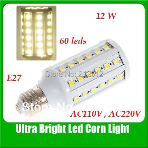 Big Sale Free Shipping CE ROHS E26/E27/E14/B22 12W 60 LEDs 5050 Corn Bulb AC 110 or 220V Led Bulbs Warranty 2 Year