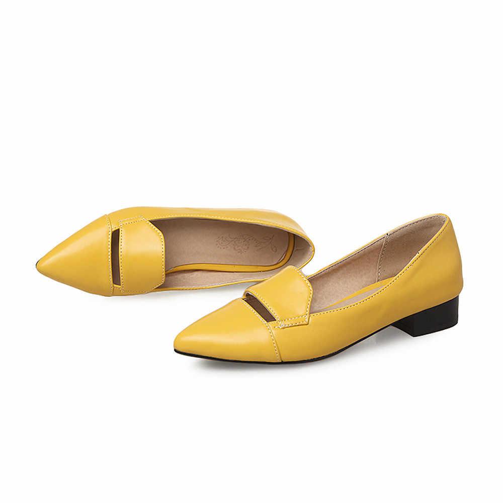 ASUMER siyah kırmızı sarı sivri burun sığ rahat tek ayakkabı kadın kare topuk moda kadın düşük topuklu ayakkabılar büyük boy 33 -43