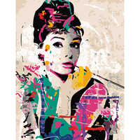 Painting By Numbers DIY Dropshipping 40x50 60x75cm Audrey Hepburn elegant Figure Canvas Wedding Decoration Art picture Gift