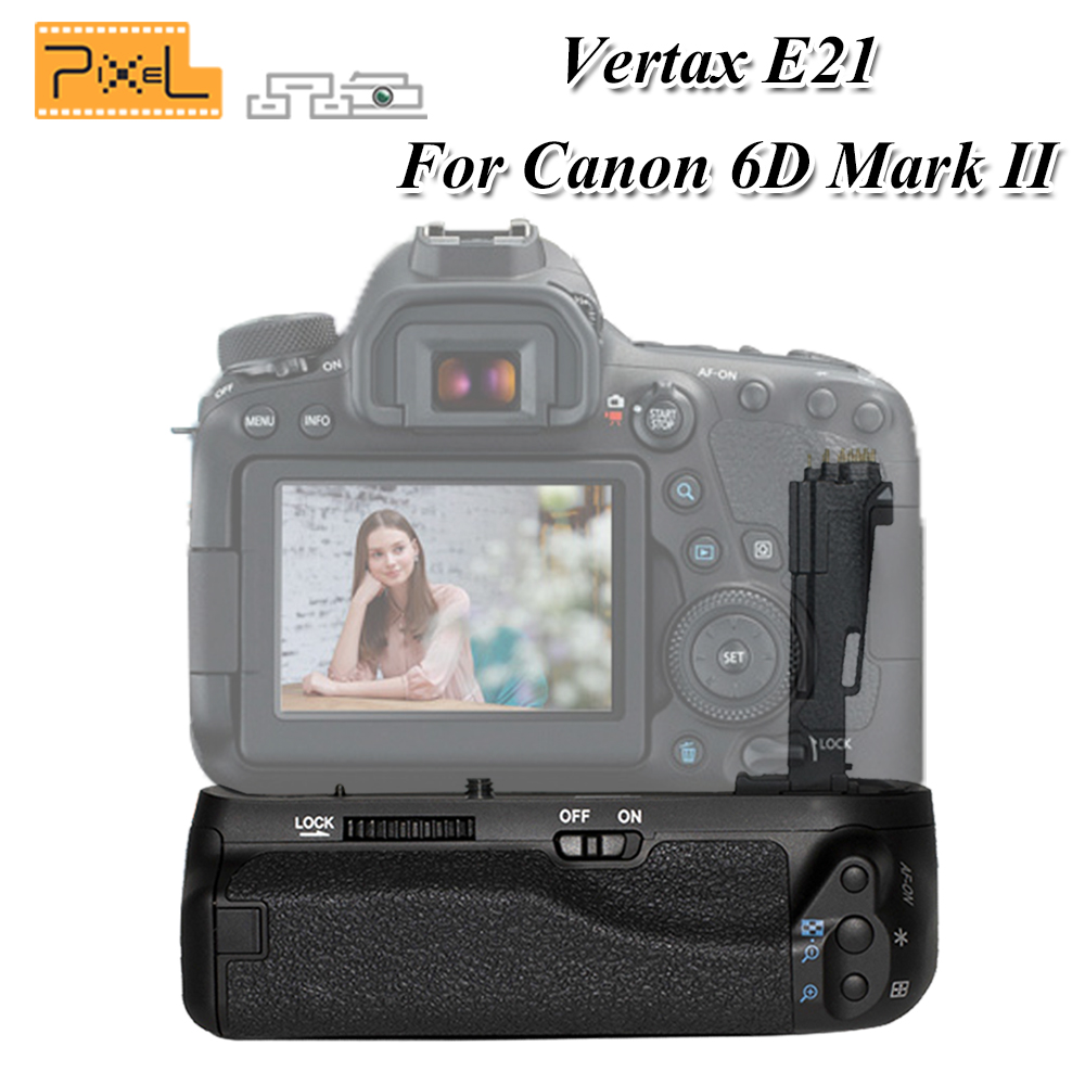 PIXEL Work With LP-E6/LP-E6N Battery BG-E21 E21 Battery Grip Handle For Canon EOS 6DII 6DMark II Digital SLR Camera diy kit jv15 hifi remote volume control kit 128 steps dual display 50k with aluminum remote