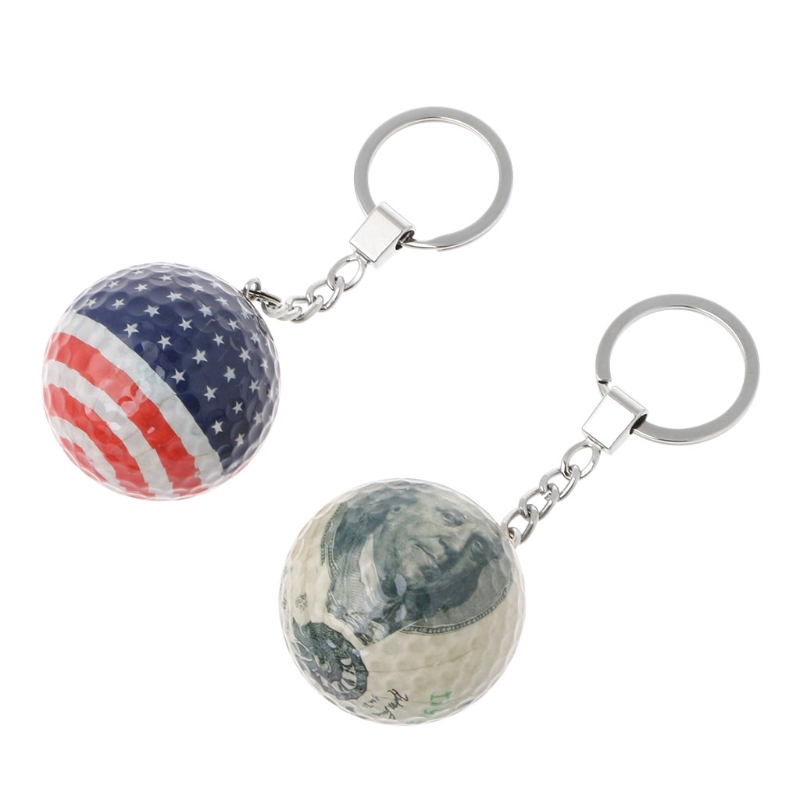 Key Chain Golf Ball Crystal Cover Key Ring Goal Sports Game Souvenir #20/29W
