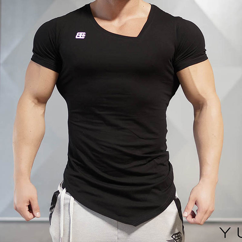 Training-Sportswear Short-Sleeve Compression-Top Rashgard V-Neck Quick-Dry Gym Men T-Shirts
