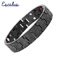 2015 Men 4in1 36pcs Magnet Negative Ions Germanium Far Infar Red All Black Stainless Steel Bracelet