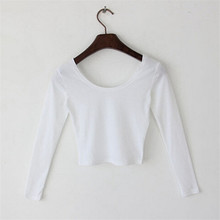 Fashion T-shirts For Women Casual Long Sleeve O-neck Woman's T shirts Sexy Femme Tee Shirt Basic Crop Top