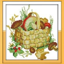 The Mushroom Basket Canvas DMC Cross Stitch Kits 100% Accura