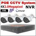 CCTV Камеры безопасности POE NVR Комплект Motion detect POE NVR 4 шт. 2.0mp 1080 открытый ИК ночного видения P2P Onvif POE, Ip-камера Plug & play