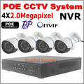 CCTV Camera security POE NVR Kit Motion detect POE NVR 4pcs 2.0mp 1080 outdoor IR night vision P2P Onvif POE IP Camera Plug&play