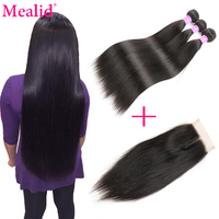 Mealid Brazilian Straight Hair Bundles With Closure 1b Non Remy Brazilian Hair Weave Bundles Human Hair