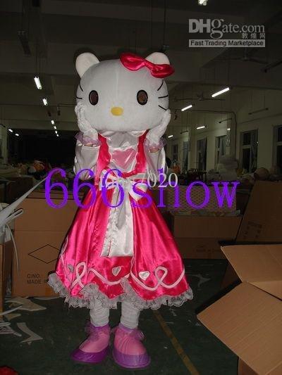 Pink fancy dress hello kitty Cartoon Mascot Costume