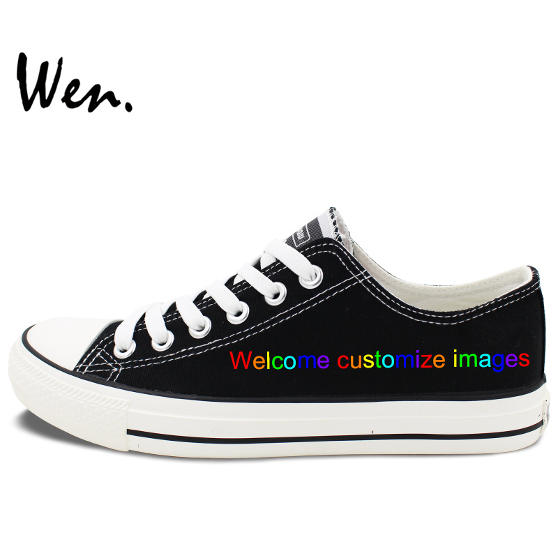 Wen Black Low Top Custom Shoes Hand Painted Canvas Shoes Welcome Customize Images Design Accept Bargain According to Complexity цены