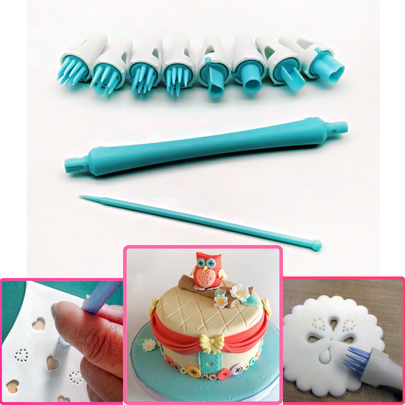Home & Garden Generous 4pcs Double-ended Stainless Steel Diy Fondant Cake Decorating Clay Flower Sugarcraft Ball Modelling Cutter blue Bakeware