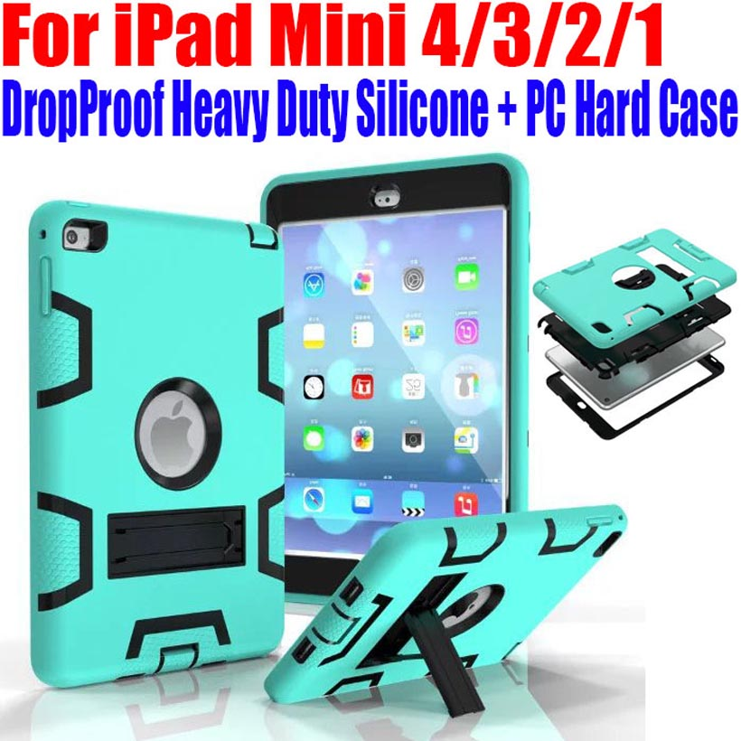 50pcs/Lot Silicone + PC Hard Case For iPad Mini 4/3/2/1 Kids Safe Armor Drop Shock Proof Heavy Duty With Screen Protector IM409