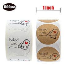 1000 PCS 1 inch Natural Round Kraft baked wich love Stickers gifts package cute stickers for seal labels home hand made
