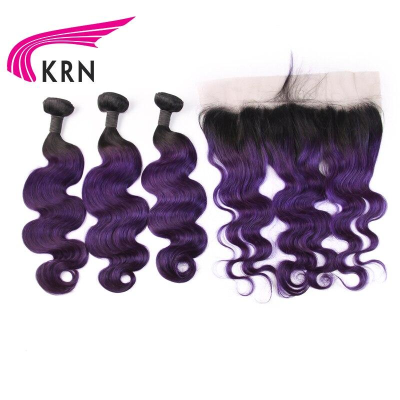 КРН 1B фиолетовый бразильский Волосы remy объемная волна комплект из 3 предметов Связки с 13*4 уха до уха Кружева Фронтальная застежка Пряди чело