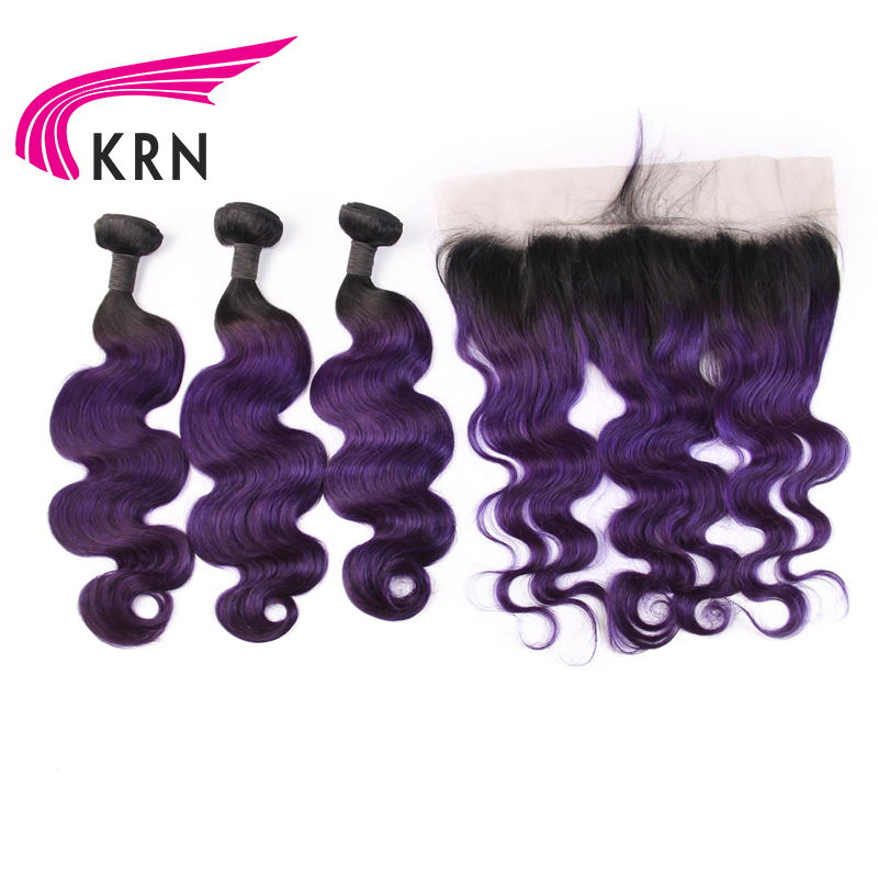 KRN 1B Purple Brazilian Remy Hair Body Wave 3 Pieces Bundles With 13*4 Ear To Ear Lace Frontal Closure Human Hair Extensions