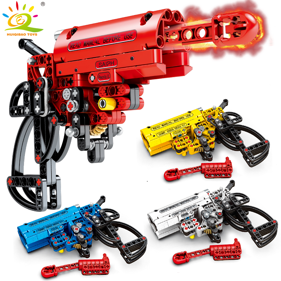 4Color Shooting Gun Building Blocks Compatible legoingly Technic Pistol Weapon DIY Game Bricks Educational Toys for Children boy