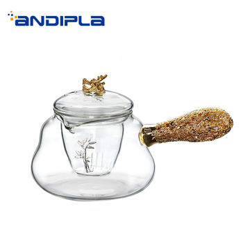 400ml 14oz Teapot Can Be Boiled Handmade Gold Silver Dragon Transparent Glass High Grade Tea Pot Drinkware Home Decoration