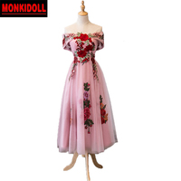 Fashion Floral Embroidery Lace Homecoming Dresses Tea Length Prom Dresses 2019 Cheap Junior High Graduation Dresses Semi Formal