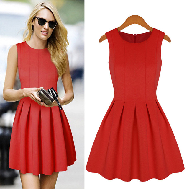 Lady red color celebrities without sleeve bandage dresses sweet ruffle A line  OL pleated formal casual bd88911cec40