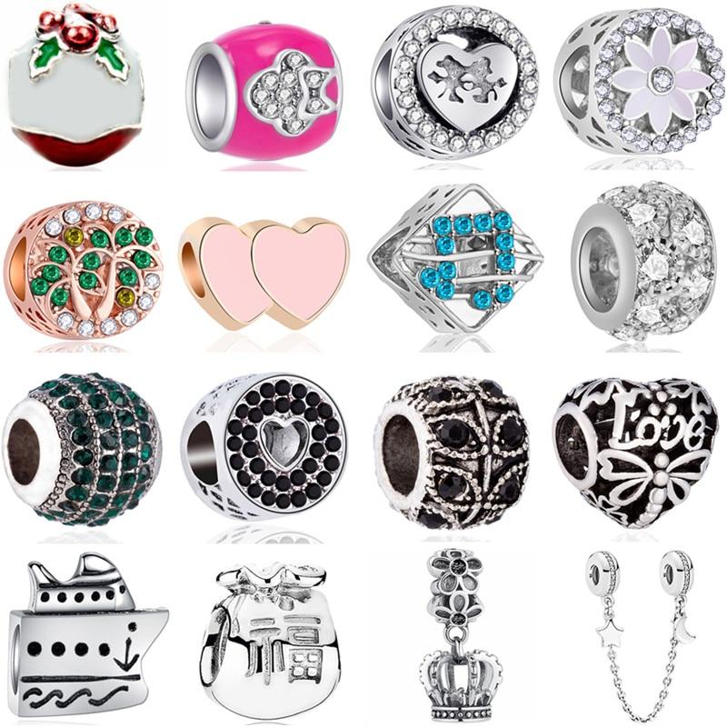 Flowers Beads Bracelets Bird-Crown Making-Gifts Fit Pandora Party Music-Hearts European