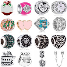 European Charms Beads Bird Crown Yacht Music Hearts Flowers Beads Fit Pandora Charms Bracelets for Women Party DIY Making Gifts(China)