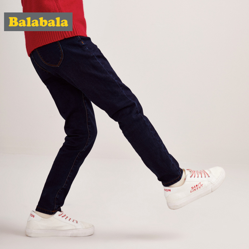 Balabala Girl Fleece-Lined Pull-on Jeans in Slim Fit Teenage Girl Cotton Jeans in Washed Denim with Pocket Elasticized Waistband