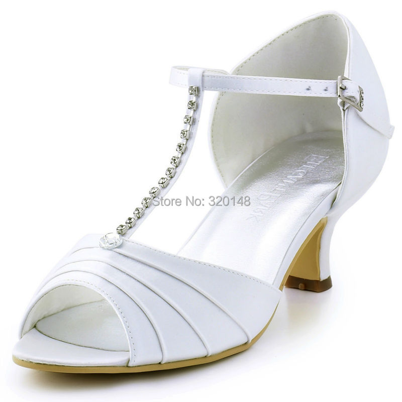 Women Shoes Wedding Bridal White Ivory Low Heel T Strap