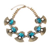 Alloy Fan-shaped Blue Gem Power Necklace Collar Accessories Dress Costume Jewelry