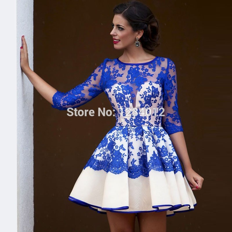 Arabic Royal Blue Short Cocktail Dresses 2017 Lace Cute Homecoming ... 782abcfc7679
