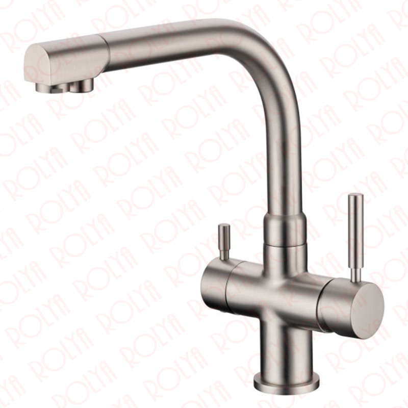 Rolya Brushed Nickle Osmosis Reverse 3 Way Water Filter Tap Tri Flow Clean Pure Water Kitchen