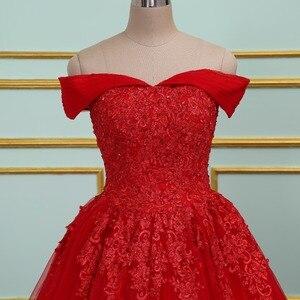 Image 2 - Vinca 써니 우아한 레이스 Applique 구슬 장식 공주 웨딩 드레스 2020 오프 숄더 새로운 모델 레드 볼 가운 웨딩 드레스