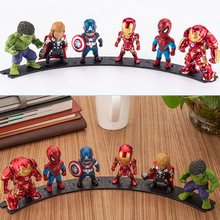 The Avengers  Superheroes Captain America Iron Man Thing Hulk Captaib Spiderman PVC Action Figures Toys 6pcs/set