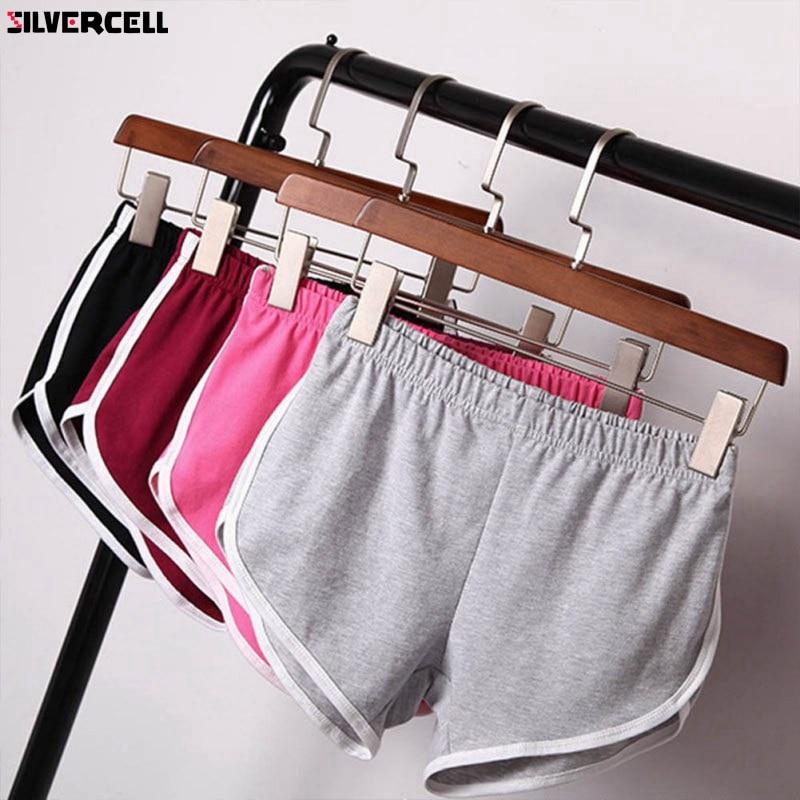 SILVERCELL Short Street Cotton Shorts Women Elastic Waist Short Pants Women All-match Loose Solid Soft Casual Short Femme