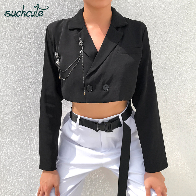SUCHCUTE Women's Jacket Blazer Long Sleeve Black Metal Chain Coat Feminino Chaqueta Mujer Veste Festival Summer 2019 Modis Party
