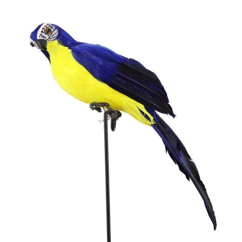 Ручной работы моделирование попугай сад Декор Творческий перо газон пена фигурка орнамент животное птица забор птица реквизит украшения - Цвет: Синий