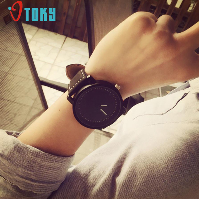 OTOKY Unisex Men Women Leather Band Big Dial Quartz Analog Wrist Watch Watches 1
