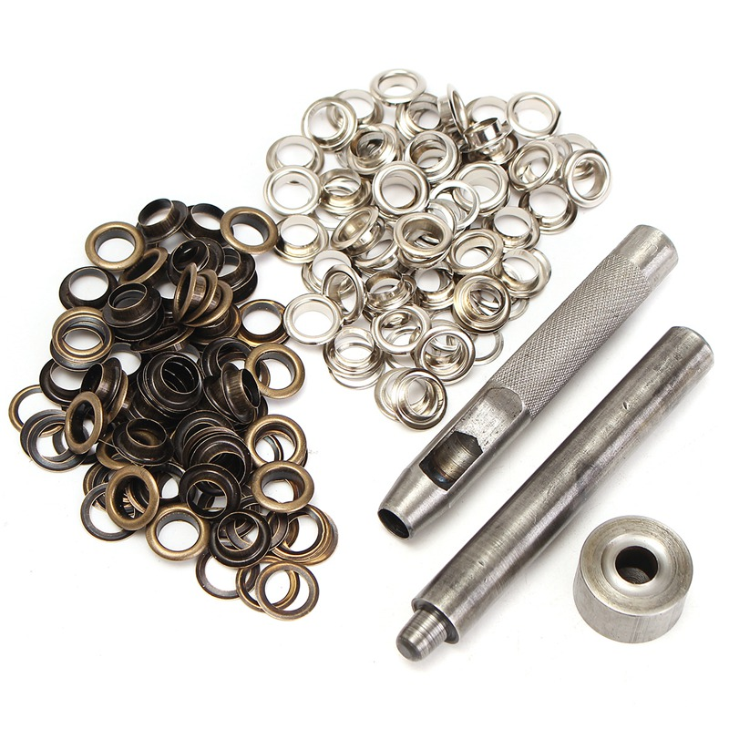 100 Silver Bronze 8mm Eyelets Hollow Punch Tools Kit Leather Craft Belt Clothes Clothing Bags Shoes Hats DIY Manual Accessory